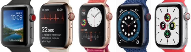 Apple Watch 3, 4, 5, 6 et SE comparées
