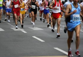 marathoniens qui courrent