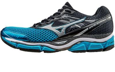 7dd78a26fa5 belles chaussures de running Mizuno Wave Enigma5 bleues et noires